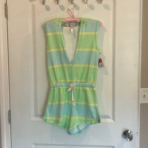 Colorful hooded romper